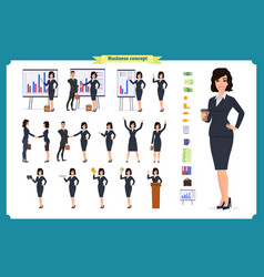 Ready-to-use character set young business woman vector