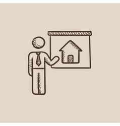 Real estate agent showing house sketch icon vector image