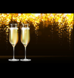 Realistic of champagne glasses vector