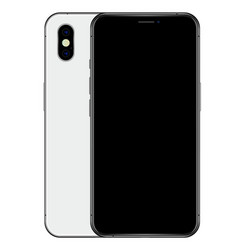 realistic silver phone black screen and back side vector image