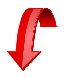 Red 3d down arrow with transparent shadow vector