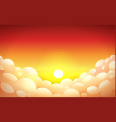Red sunset sky in yellow-orange color with fluffy vector