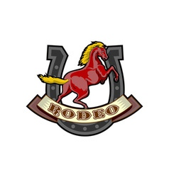 Rodeo prancing horse horseshoe vector
