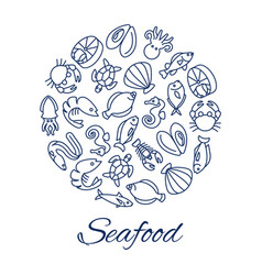 seafood line icons round concept with fishes vector image