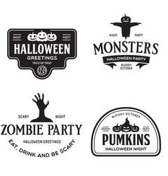 set happy halloween vintage badges vector image