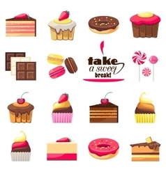 Set of fifteen delicious desserts vector