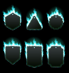 set of six frames surrounded with azure flame vector image vector image
