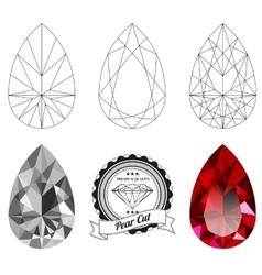 Set pear cut jewel views vector
