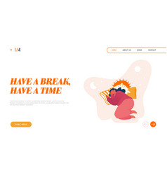 Sleeping woman character landing page time vector