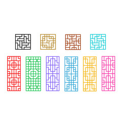 Square and rectangle chinese window pattern vector
