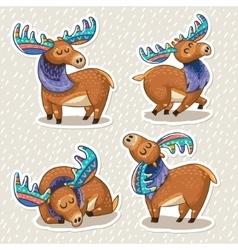 Sticker set of cute cartoon hand drawn elks vector