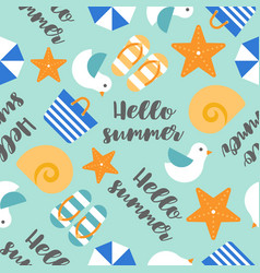 Summer theme seamless pattern with hello summer vector