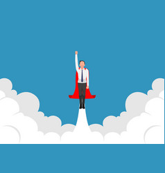 super businessman flying up from cloud vector image