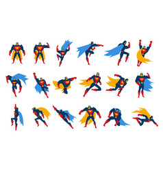 Superheroes characters set man wearing colorful vector