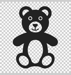 teddy bear plush toy icon on isolated transparent vector image