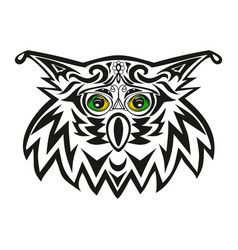 The head of an owl a night bird of prey a vector