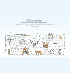 Thin line art hunter poster banner template vector
