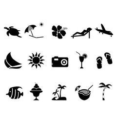tropical island vacation icons set vector image