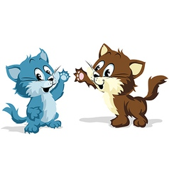 two cats playing vector image vector image