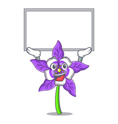 Up board columbine flower character cartoon vector