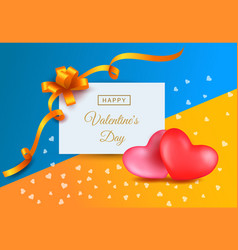 valentines day pictures with two hearts ribbons vector image