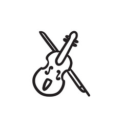 Violin with bow sketch icon vector