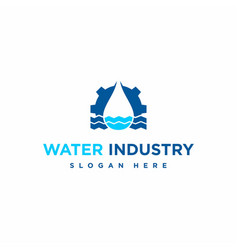 Water drop with gear logo design template vector