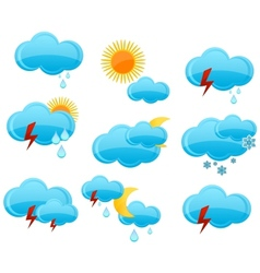 web weather symbols set blue color vector image