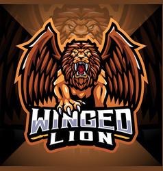 Winged lion esport mascot logo design vector