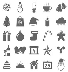 Winter icons on white background vector image