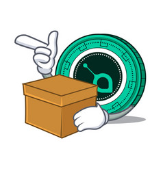 with box siacoin character cartoon style vector image