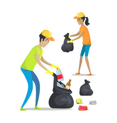 woman and man collecting waste vector image