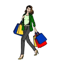 woman with shopping bag vector image