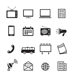 Advertising media silhouette icons marketing and vector image vector image