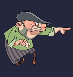 cartoon formidable man in the cap is pointing vector image vector image
