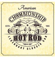 championship hot rod retro vector image vector image