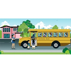 Children on school bus vector image vector image