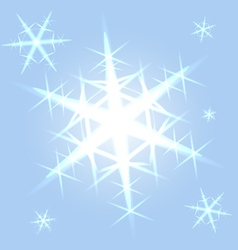 Shining snowflakes on blue vector image vector image