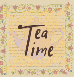 vintage card with teapot vector image