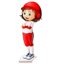 A smiling female baseball player vector image