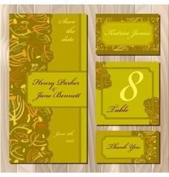 Autumn tansy twigs Wedding card set Printable vector image vector image