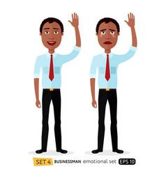 Emotion business man waving hand goodbye vector