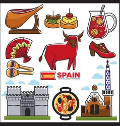 spain travel destination promotional poster with vector image vector image