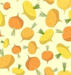 Turnip seamless pattern Vegetable background ripe vector image