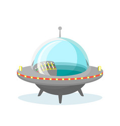 ufo spaceship icon on white vector image