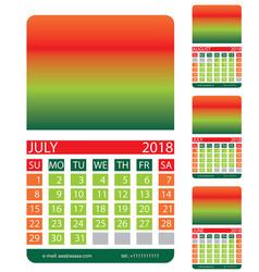 Calendar grid july august june vector