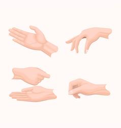 human palms holding gestures flat set vector image