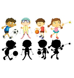 Kids doing different sports vector image