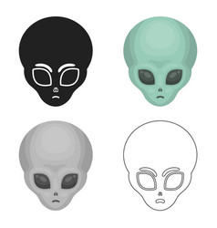 alien icon in cartoon style isolated on white vector image