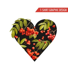 Floral Heart Graphic Design - for T-shirt Fashion vector image vector image